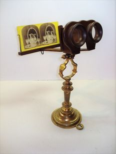 Antique table stereo observer, stereoscope for cards 9x18, beautiful design