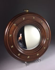 Mahogany butler mirror with brass appliques, second half 20th century