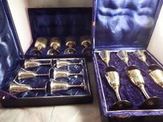 3boxes of silverplated wine and sherry goblets, late 20th century