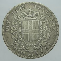 Kingdom of Italy - 2 Lira coin, 1860, Florence, Vittorio Emanuele II 'Re Eletto' - Silver