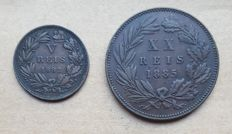 Portugal -- 2 coins -- V Réis 1882 & 1885, XX Réis 1885 -- Luís I . Above Average