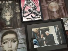 H.R. Giger; Lot with 2 books, 1 framed limited edition photo, 1 flyer, 1 card, 2 LPs - 1973 / 2007
