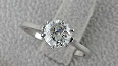 1.00 ct round diamond ring 14 kt white gold - size 6,5