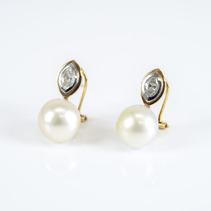 Yellow gold 18 kt - Earrings - Diamonds of 1 ct - Australian South Sea pearls - Earring height: 22.75 mm