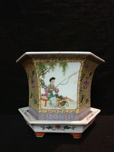 Chinese ceramic, hand-painted, two modules – Chna – Second half of the 20th century