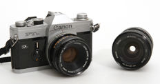 Canon FTb QL with Canon 1.8/50 mm + Vivitar 28-50 mm/1.3.5-4.5 from 1971