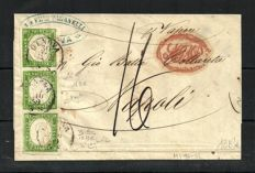 Sardinia, 1855/1863 - 5 cent, yellow-green, print with defects, row of three stamps on a letter from Genoa to Naples - Sass.  No.  13 Be