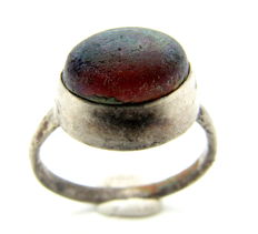 Medieval - Viking Era - Silver Ring with Dark Red Stone in Bezel - 18 mm