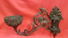 Cast iron wall sconce / oil lamp holder - France - 1920