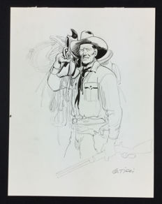 "Ticci, Giovanni - preliminary drawing for a cover of Tex: ""E il sogno continua…"""