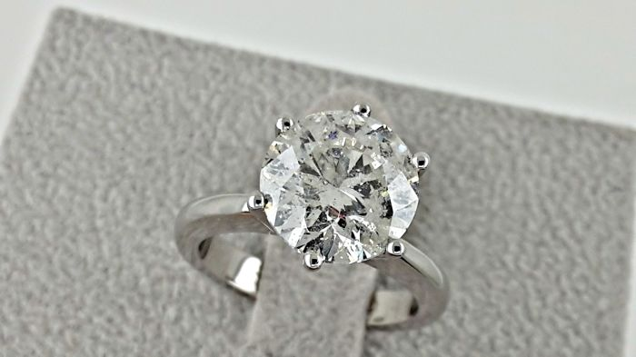3.75 ct   round diamond ring 18 kt gold - size 6