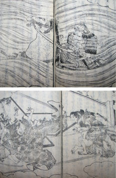 Two original woodblock print books about Samurai, Ehon Toyotomi Kunkoki Part 4, vol 3 and part 5, vol 9 - Japan - 1860