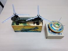 "Blomer & Schüler, Western Germany-C. 11-21 cm Batch 2 friction Toys ""Helicopter US Navy 568 BS"" and ""Apollo 562"", 1965"