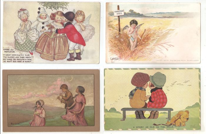 Lot of 50x postcards - subject matter: kids