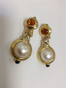 Elegant earrings made of 18k gold, pearl, citrine, diamond, sapphire