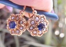 'Sleeper' earrings in 18 kt gold, blue sapphires and small pearls.