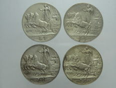 Kingdom of Italy - Series of 1 Lira coins from 1909, 1910, 1912 and 1913 - Vittorio Emanuele III (4 coins) - silver
