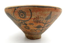 Indus Valley Painted Terracotta Bowl with Bull Motif - 147x75 mm