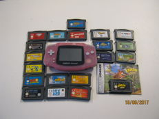 Gameboy Advance pink including  20 games like: Crash, Lion King , Ice Age and more