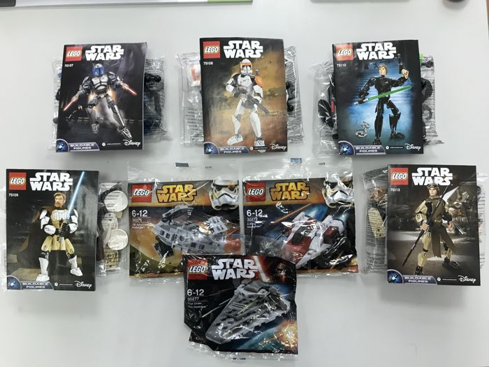 Star Wars - 75107 + 75108 + 75109 + 75110 + 75113 + 30272 + 30275 + 30277 - five Buildable Figures + 3 Polybags