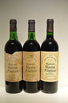 2x 1976 & 1x 1998 Chateau Gloria, Saint-Julien - 3 bottles