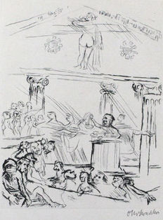 Oskar Kokoschka - Das Tribunal: The spectators will be announced by a choir of the competition.