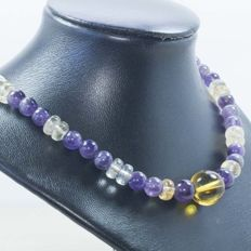 18 kt gold necklace with citrine and amethyst - Length: 45 cm - Weight: 48.80 g