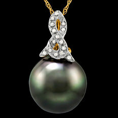 14K Pendant Set with Tahitian Black Pearl 12.4 mm and 15 round cut Diamonds of approx. 0.075 ct **no reserve price**