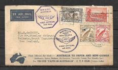 Papua New Guinea 1934 - 'PRIMO VOLO' (First Flight) Aerogramme from Melbourne to Lae and back - Franked with stamps from Australia and New Guinea