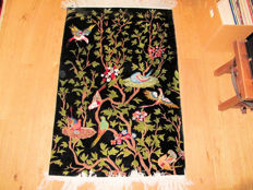 Rare Tabriz hand-knotted rug with a black background, dimensions: 145 x 96 cm