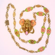 Art Nouveau style necklace with plique ajour enamel, ca. 1960
