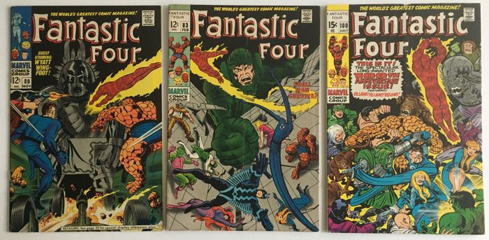 Marvel Comics - Fantastic Four - Issues #80, #83 & #100 - 1st Print - 3x SC - (1968/70)