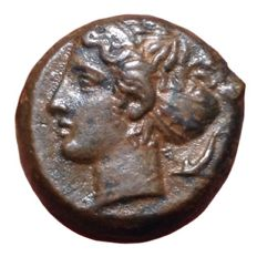 The Greek Antiquity - Sicily, Syracuse, 2nd Democracy / Dionysos I (466-405 BC) - Æ Hemilitron (14mm, 3,82g), c. 410-405 BC - Head of Arethusa / Wheel - CNS 20; HGC 2, 1479