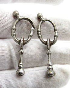 Pair of Viking Decorated Silver Earrings 38-39mm (2)