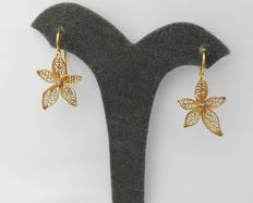 19.2 kt – Gold Portuguese Filigree Earrings – 3.8g – 3.4cm x 1.4cm + hook