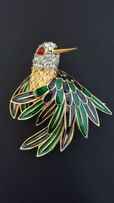 D'Orlan Enamel and Rhinestone hummingbird Brooch