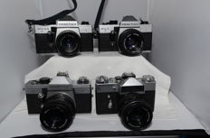 3x Praktica,1x Revueflex with lenses