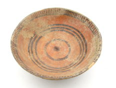Indus Valley Painted Terracotta Plate with Geometric Motif - 136x55 mm