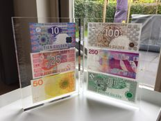Netherlands - Banknote presentation set with 10, 25, 50, 100, 250 and 1,000 guilders - mevius PS1