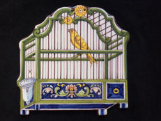 Tichelaar Makkum antique plaque, bird-cage
