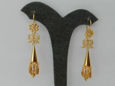 19.2kt - Gold Portuguese Filigree Earrings - 7.6g - 4.6cm x 1.1cm + hook