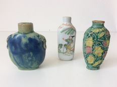 3 Snuff Bottles - China - 19th/early 20th Century