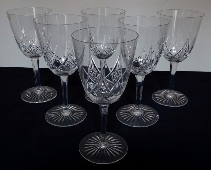 Baccarat - 6 crystal water glasses, model Epron, France, circa 1900