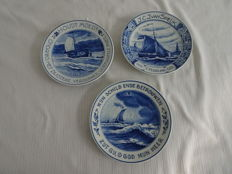 Porceleyne fles - 3 Memorial plates with sailing boats, 1931 (2x) and 1939