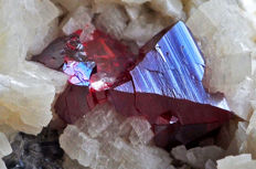 Vivid red Cinnabr crystals on matrix - 6.6 X 4.6 X 3.7 cm - 161 gm