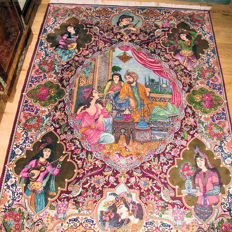 Rare Tabriz hand-knotted rug, dimensions: 209 x 156 cm