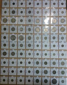 World lot of 92 different silver coins - 1856/1994