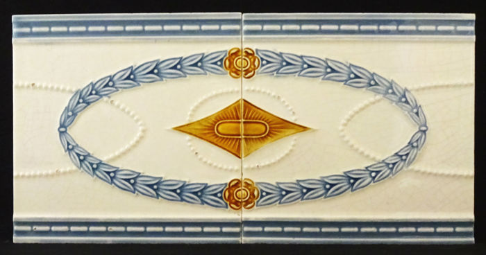 Faïenceries Bouffioulx - Two Art Nouveau Tiles with continuous pattern