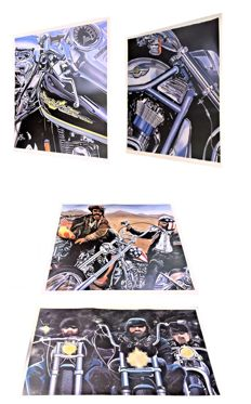 Four lithographs by the artist Eric Jan Kremer. Lot of 4 x 100 Years Harley Davidson
