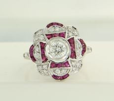 14 kt white gold ring set with ruby and 25 brilliant cut diamonds of approx. 0.75 ct in total, ring size 17.25 (54)